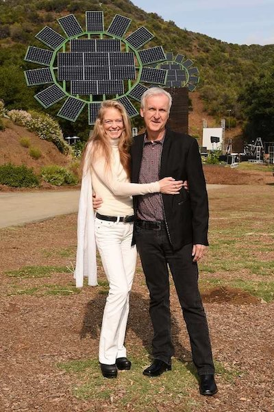 James Cameron and Suzy Amis-Cameron with Solar Sunflowers