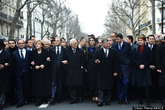 International Heads Of State At French National Unity Rally Against Terrorism - Paris