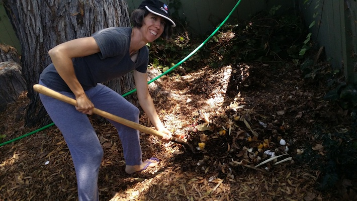 Zero Waste Chef - turning the compost pile