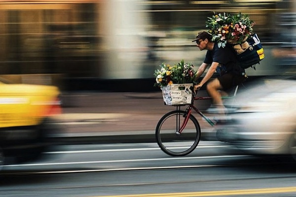 Farmgirl Flowers bicycle delivery