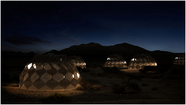 Abeer Seikaly designed self-sufficient tent at night