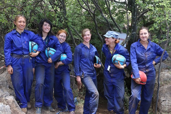 The six women scientists — Becca Peixotto, K. Lindsay Hunter, Hannah Morris, Alia Gurtov, Marina Elliot, and Elen Feuerriegel (left to right) — who descended into Rising Star Cave to retrieve fossils from Homo naledi.