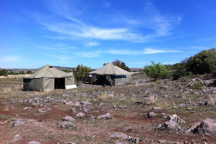The team's campground near Rising Star Cave, in South Africa. Photo: Courtesy of Hannah Morris.